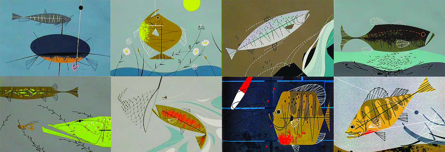 Charley harper s fish flies sand surf for Charley s fishing