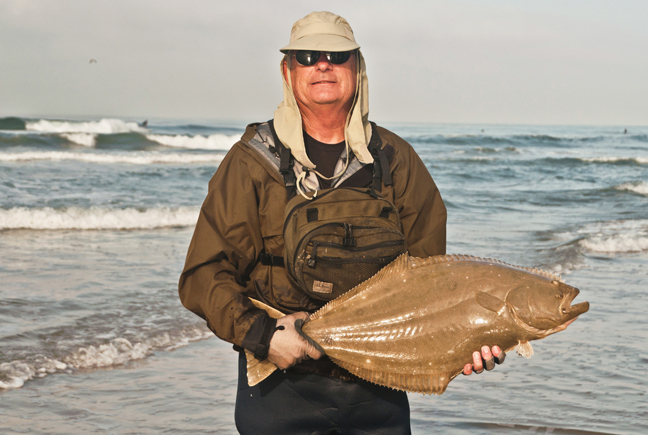 A big Halibut unfortunately foul hooked by Bill Heard during the One Surf Fly in Huntington beach last saturday. I was very impressed how Bill played this fish and landed it without sacrificing his fly, which would have knocked him out of the event. Photo by Al Q