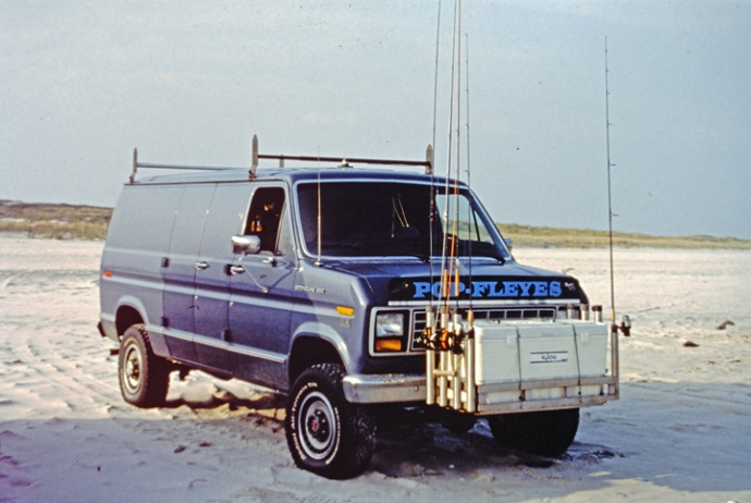 Popfleye Beach Van owned by Bob Popovics, circa early nineties. Photo by Al Q