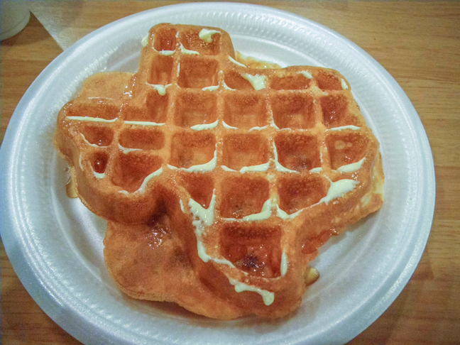 texas style waffle courtesy of the Travel Lodge each morning. photo by al q