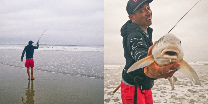 Jon Nakano working a home-made sand crab lure with a light spinning outfit fouls another nice fish. He early got a good eat but the fish took off and came undone. Photo by Al Q
