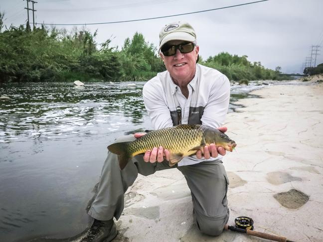 my good buddy Jim Solomon with his first LA river goldfish. Photo by Al Q