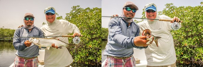 Local angler and fishing buddy, John Whitaker lands a nice baby tarpon on one of my new Pinched Crab prototypes a few weeks ago in the southern Yucatan.