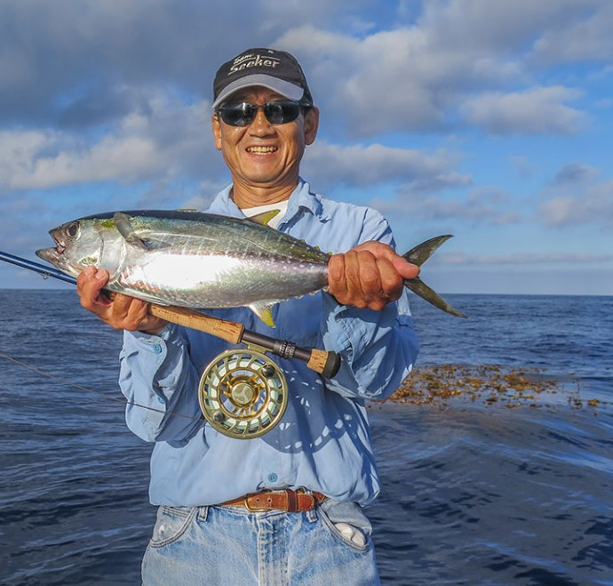 Roy with his first Ahi on fly. Photo by Al Quattrocchi