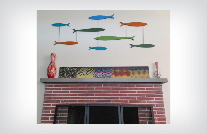 Fish wall mobile and acrylic trout panel. ©2015 Art by Al Quattrocchi