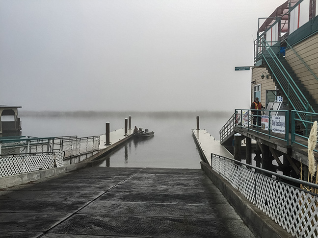 the launch at Sugar Barge, fogged in. Photo by Al Q