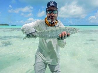 Jimmy Kimmel with a beautiful Tahitian bonefish, DIY style, caught on a gotcha.